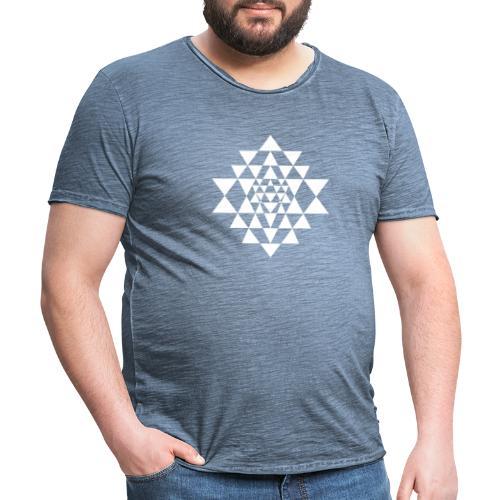 Valkoinen Shri Yantra -kuvio - Miesten vintage t-paita