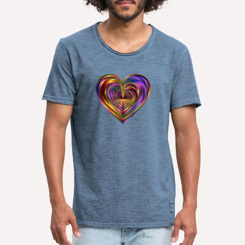 Colorful Love Heart Print T-shirts And Apparel - Men's Vintage T-Shirt