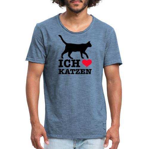 Ich liebe Katzen mit Katzen-Silhouette - Männer Vintage T-Shirt