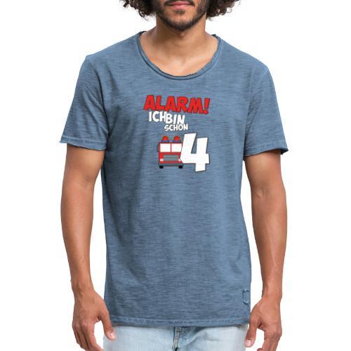 Feuerwehrauto 4. Geburtstag Jungen 4 Jahre - Männer Vintage T-Shirt