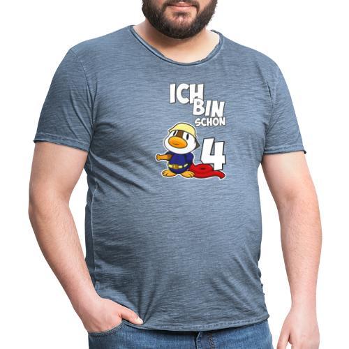 Stolze Feuerwehr Ente 4. Geburtstag Jungen Mädchen - Männer Vintage T-Shirt