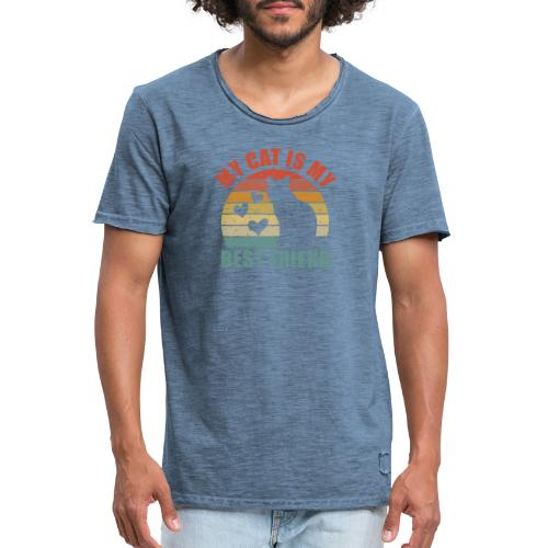 My cat is my best friend - Männer Vintage T-Shirt