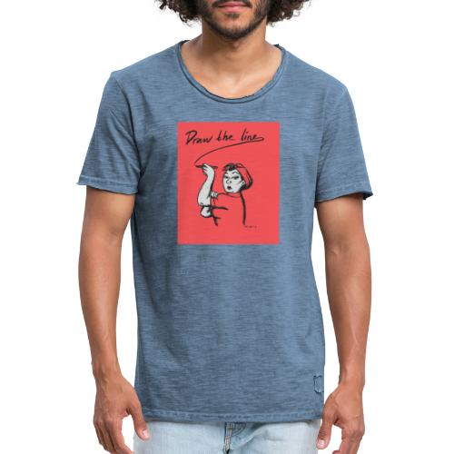 draw the line bild fa rg - Vintage-T-shirt herr