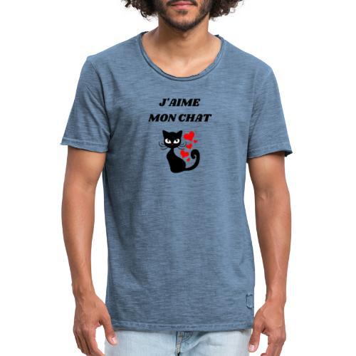 j aime mon chat - T-shirt vintage Homme