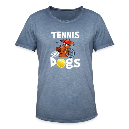 Tennis And Dogs Funny Sports Pets Animals Love - Männer Vintage T-Shirt