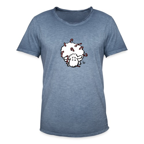 Candy Cane Sheep - Men's Vintage T-Shirt