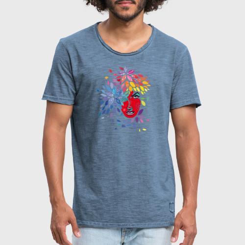 Femme cheveux de fleurs - T-shirt vintage Homme