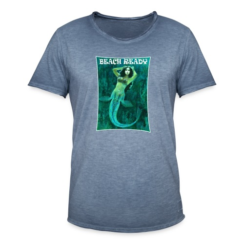 Vintage Pin-up Beach Ready Mermaid - Men's Vintage T-Shirt