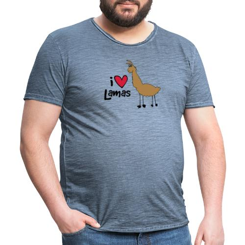 I love Lamas - Männer Vintage T-Shirt