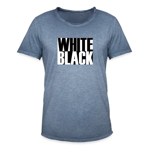 White, Black T-shirt - Mannen Vintage T-shirt