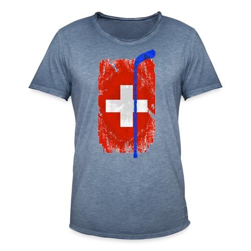 Schweizer Flagge Hockey - Männer Vintage T-Shirt