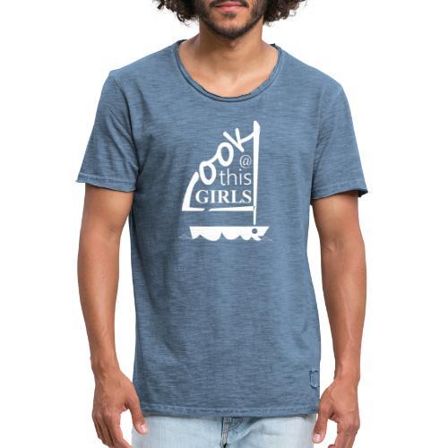 AndriesBik look thisGIRLS shirt witteletters - Mannen Vintage T-shirt