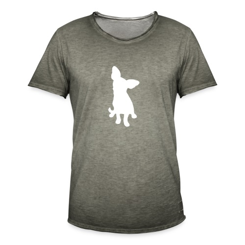 Chihuahua istuva valkoinen - Miesten vintage t-paita