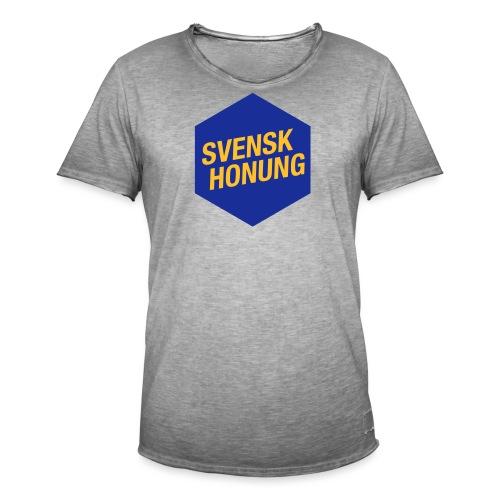 Svensk honung Hexagon Blå/Gul - Vintage-T-shirt herr