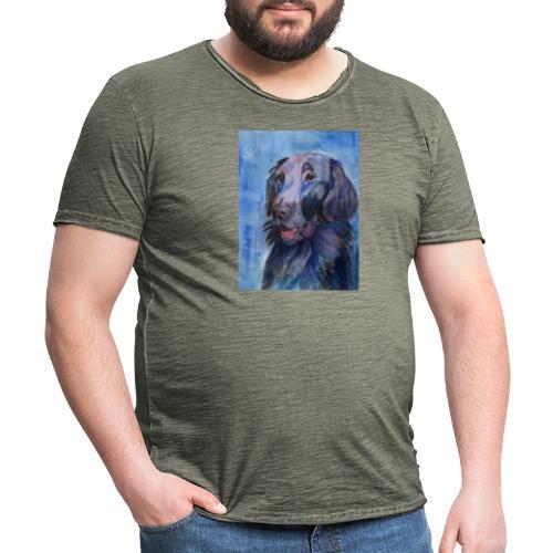 flatcoated retriever - watercolor - Herre vintage T-shirt