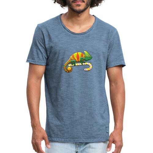 Christmas Chameleon on a Candy Cane - Men's Vintage T-Shirt