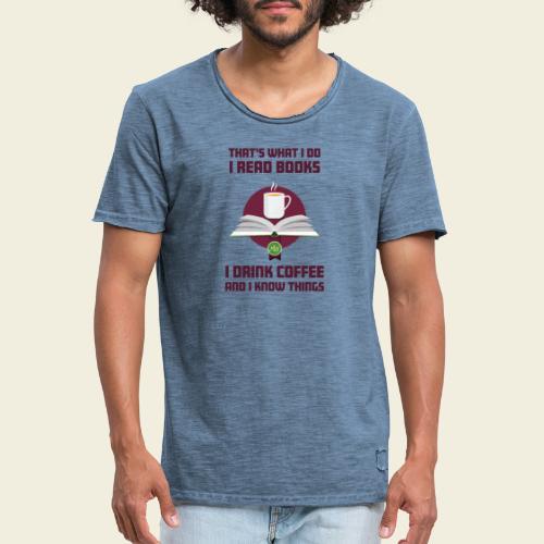 Buch und Kaffee, dunkel - Männer Vintage T-Shirt