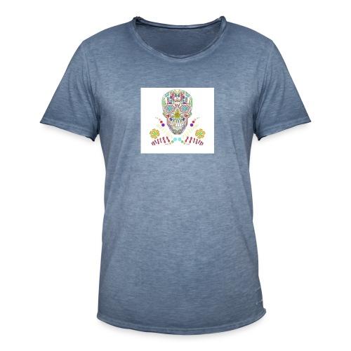 Bunter Totenkopf - Männer Vintage T-Shirt