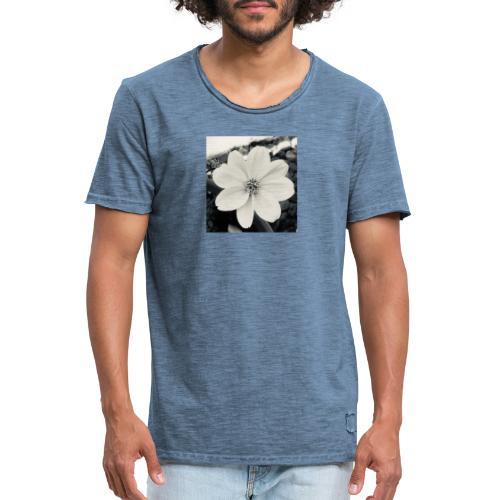 Blume Schwarz Weiß - Männer Vintage T-Shirt