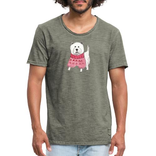 westie with sweater - Herre vintage T-shirt