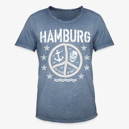 105 Hamburg Peace Anker Seil Koordinaten - Männer Vintage T-Shirt