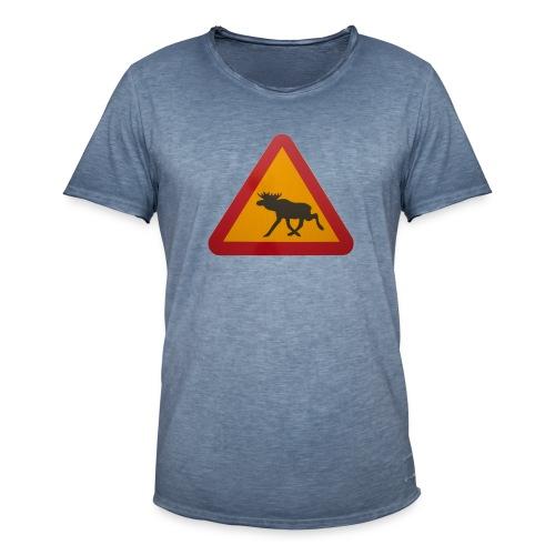 Warnschild Elch - Männer Vintage T-Shirt