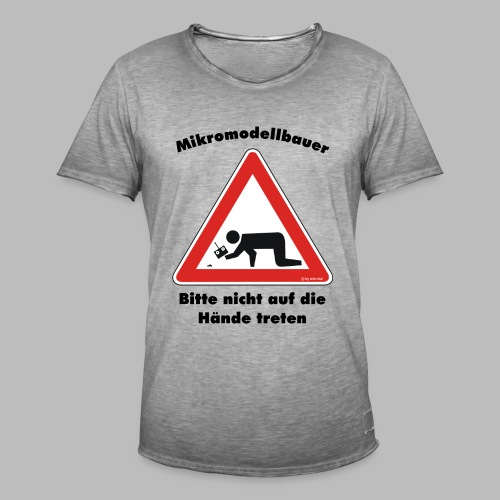 Mikromodell Warnschild Hände - Männer Vintage T-Shirt