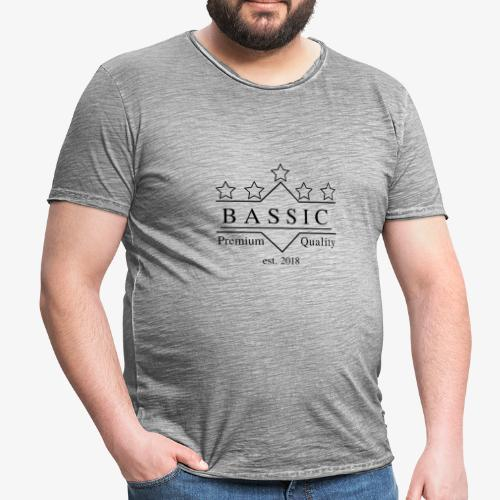 BASSic Design Five-Star-White-Edition - Männer Vintage T-Shirt