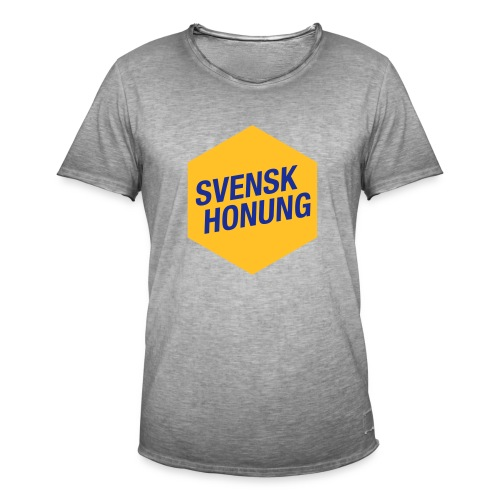 Svensk honung Hexagon Gul/Blå - Vintage-T-shirt herr