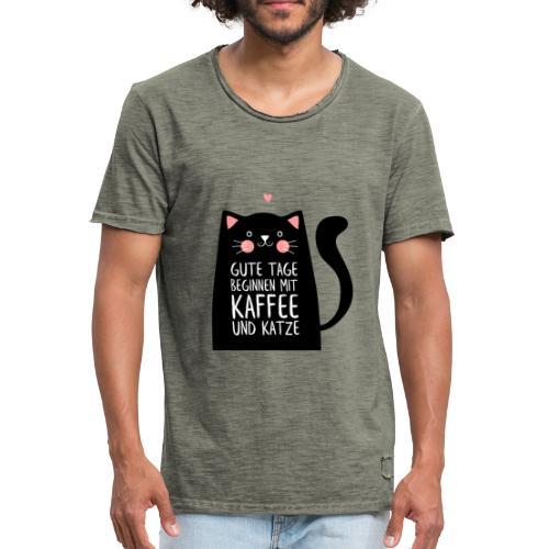 Gute Tage starten mit Kaffee und Katze - Männer Vintage T-Shirt
