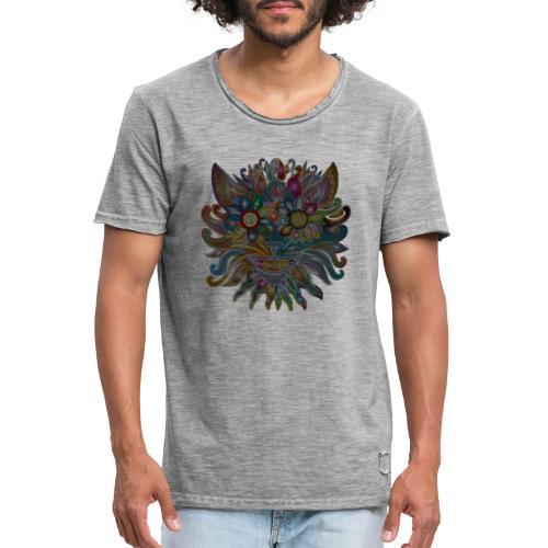 MonkeyShy visage sombre en fleurs multicolores - T-shirt vintage Homme