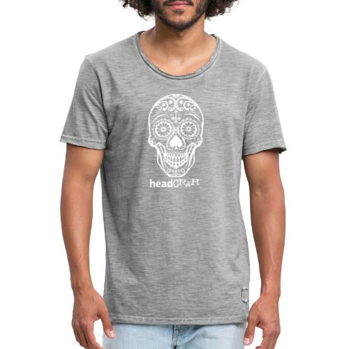Skull & Logo white - Männer Vintage T-Shirt