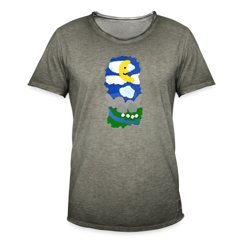 smiling moon and funny sheep - Men's Vintage T-Shirt