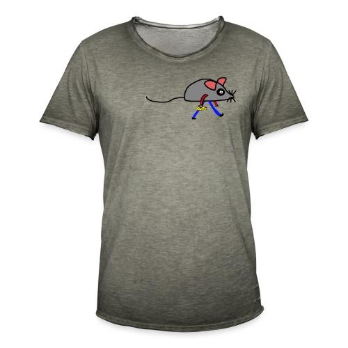Maus mit Käse Lustiges Motiv - Männer Vintage T-Shirt