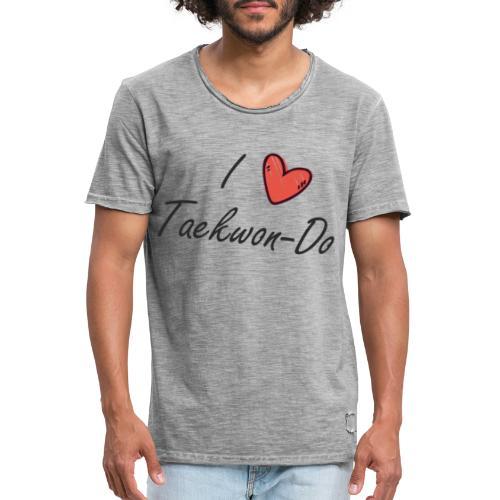 I love taekwondo letras negras - Camiseta vintage hombre