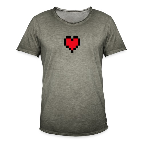 Pixel Heart - Mannen Vintage T-shirt