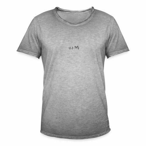 Herzschlag mit Tennisschläager - Männer Vintage T-Shirt