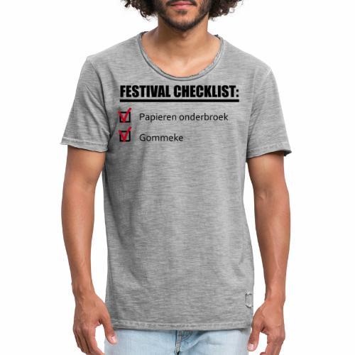 Festival Checklist - Mannen Vintage T-shirt