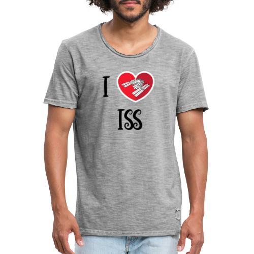 ilove iss black - T-shirt vintage Homme