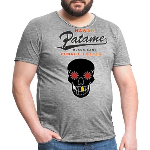 Patame Black Sand Beach with Skull - Männer Vintage T-Shirt