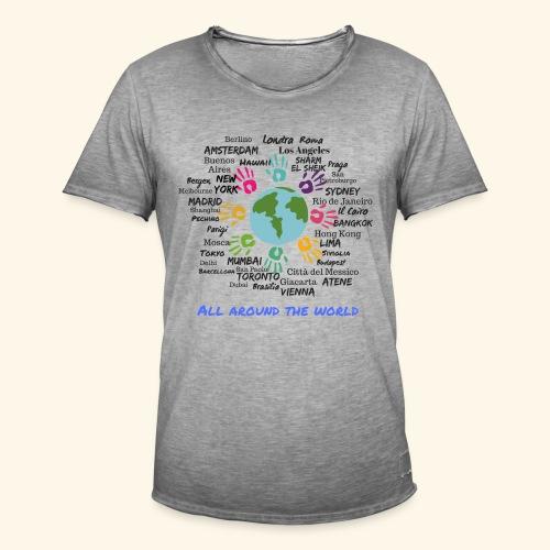 All around the world uomo - Maglietta vintage da uomo