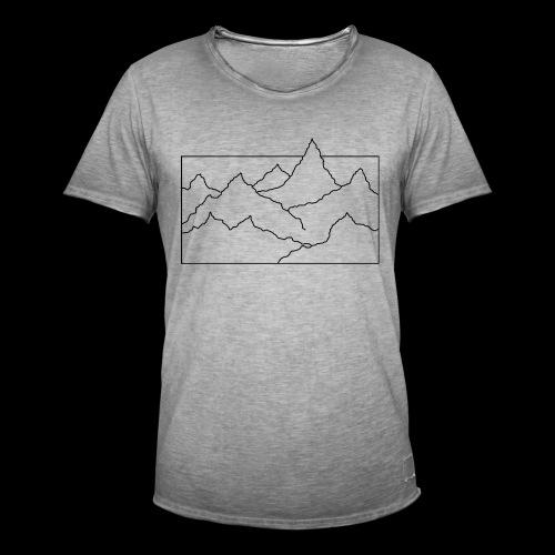 Kontur Gebirge schwarz - Männer Vintage T-Shirt