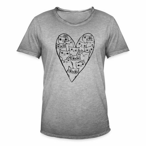 I Love Cats - Men's Vintage T-Shirt