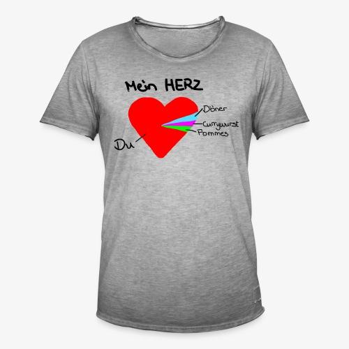 Herz Tortendiagramm 3 - Männer Vintage T-Shirt
