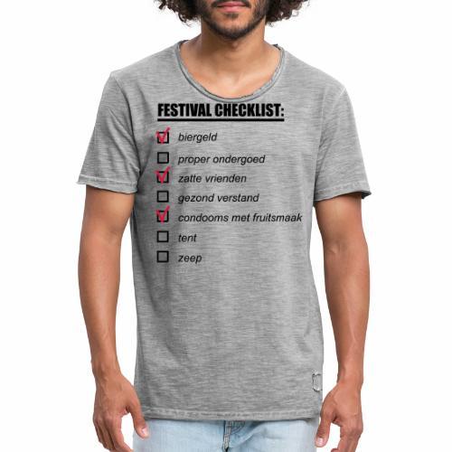 My Festival Checklist - Mannen Vintage T-shirt