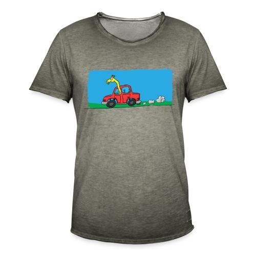 La girafe conductrice - T-shirt vintage Homme
