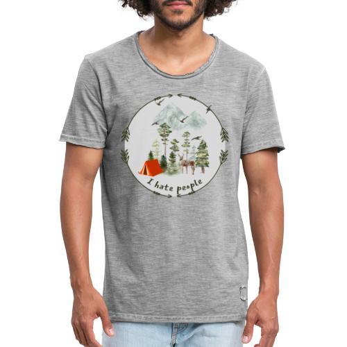 Flott gave til friluftsmenneske - I hate people - Vintage-T-skjorte for menn