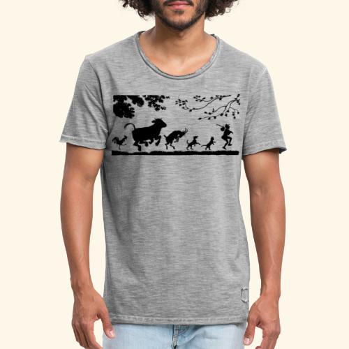 animales caminando - Camiseta vintage hombre