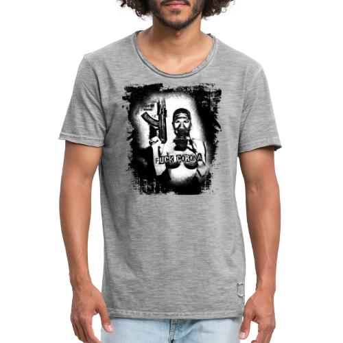 masked girl with AK - FUCK CORONA 4 white clothes - Männer Vintage T-Shirt