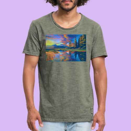 Paesaggio al tramonto con laghetto stilizzato - Maglietta vintage da uomo